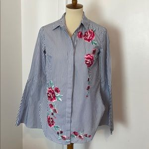 Merona Boho Floral Embroidered Blouse S